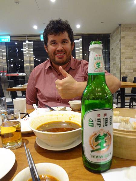 Alex with beer