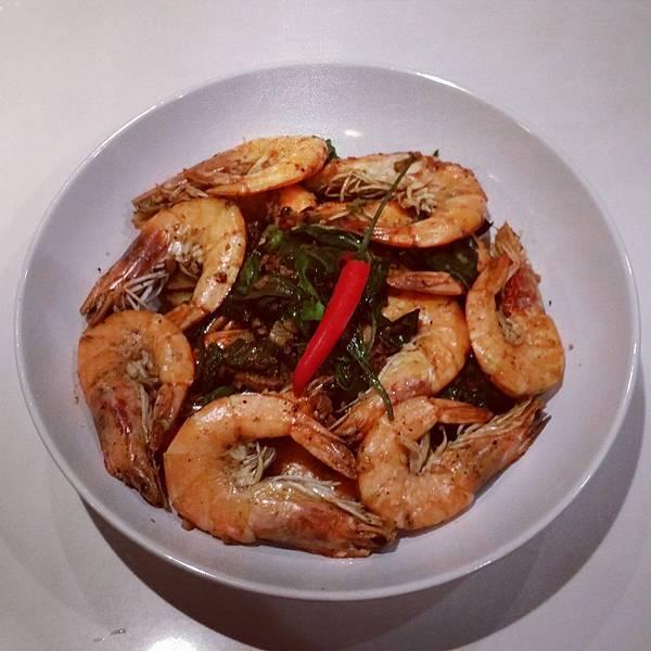 basil pepper prawns
