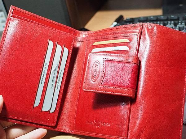 MOON紅色皮夾 - 打開的三折