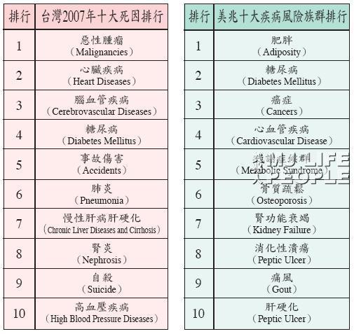 台灣2007年十大死因排行與美兆十大疾病風險族群排行