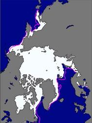 美國國家冰雪資料中心(NSIDC)指出,2010年1月份,北極海冰塊每天增加3萬4,000平方公里,低於21世紀前10年的平均速度。冬季北極海冰薄,意味著春夏恐加速融冰。(圖:NSIDC網站)