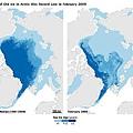 北極海冰對比圖