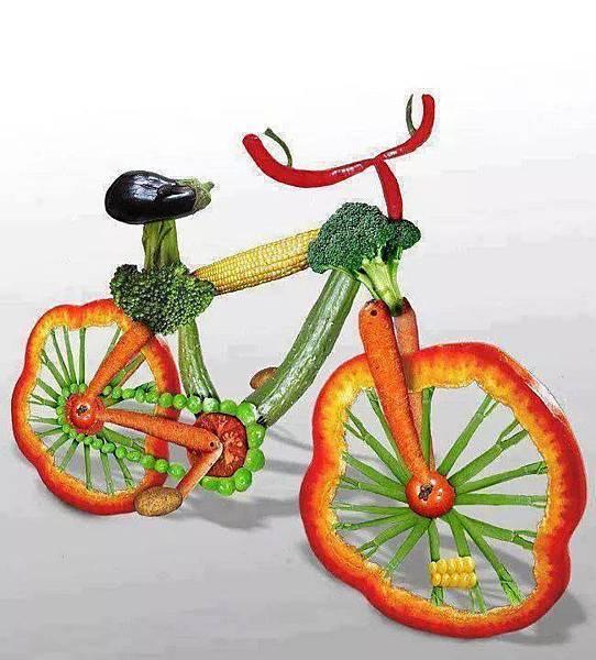青菜做成的腳踏車