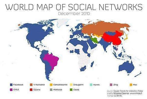 D,最普及的社交網站地圖 大多數為facebook,中國為QQ空間