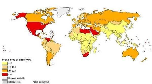 F,肥胖程度地圖 黃色最瘦,紅色最胖
