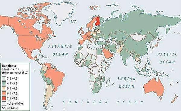 I,快樂指數地圖 紅色最快樂,綠色最不快樂