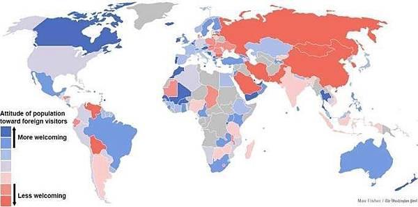 K,對外國人友善程度地圖 藍色最友善,紅色最不友善