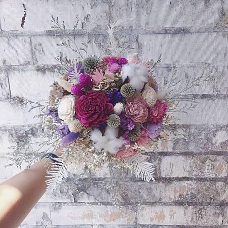 乾燥花捧花,乾燥花新娘捧花