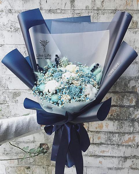 巨大花束,巨大乾燥花束台北巨型乾燥花束藍色系巨大花束
