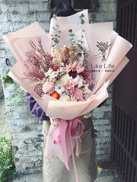 巨大花束,巨大乾燥花束台北巨型乾燥花束.粉色巨大花束