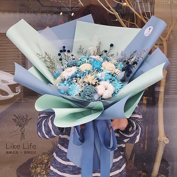 巨大花束台北,藍色巨大型乾燥花束,台北喜歡生活乾燥花店