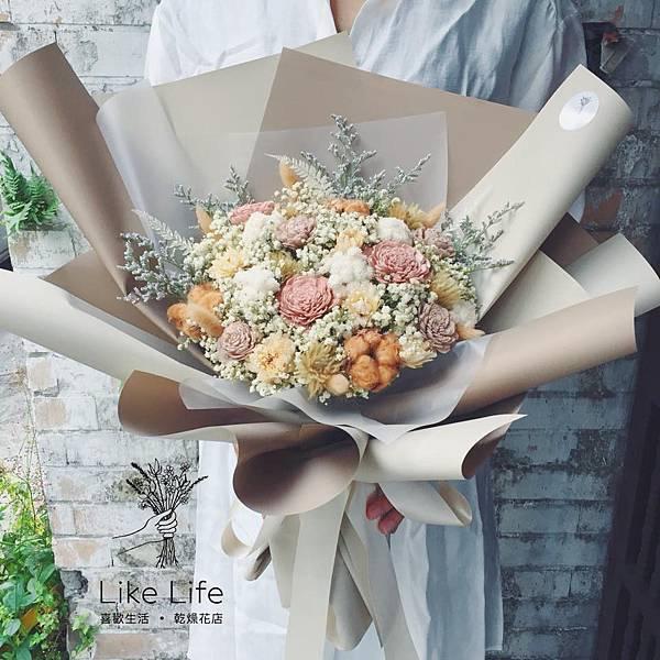 巨大花束台北,大地色巨大型乾燥花束,台北喜歡生活乾燥花店