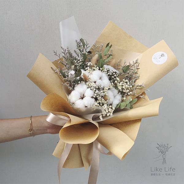 棉花花束台北乾燥花店,木棉花乾燥花束