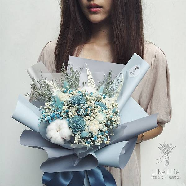 乾燥花台北,台北乾燥花店-藍色乾燥花束