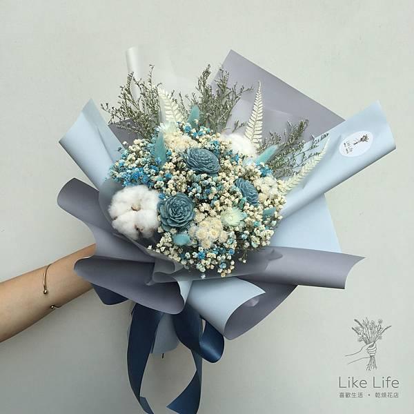 乾燥花台北推薦,台北乾燥花店-水藍色乾燥花束