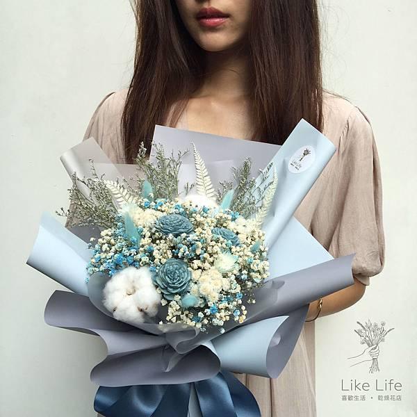 乾燥花推薦台北,台北乾燥花店-水藍色乾燥花束