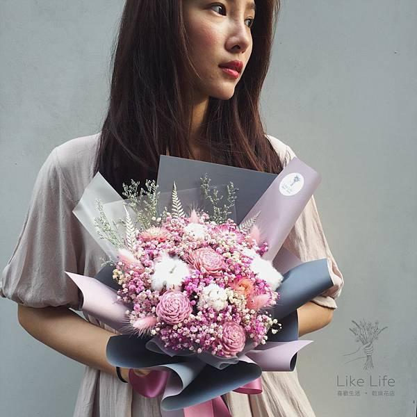 台北乾燥花推薦,台北乾燥花店-粉色乾燥花束設計