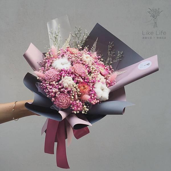 台北乾燥花推薦,台北乾燥花哪裡買-粉色乾燥花束設計