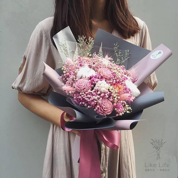 乾燥花台北推薦,台北乾燥花店-粉色乾燥花束設計