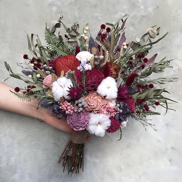 乾燥花新娘捧花-大地色系捧花2