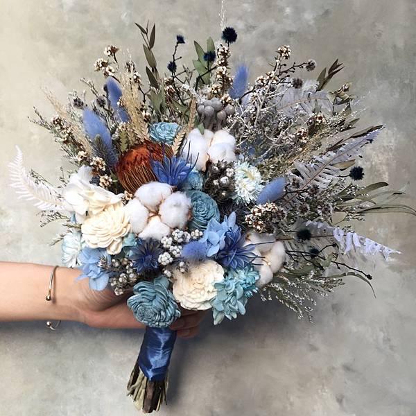 乾燥花新娘捧花-藍色系捧花