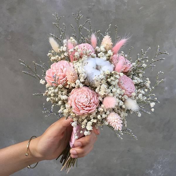 乾燥花新娘捧花-粉色系