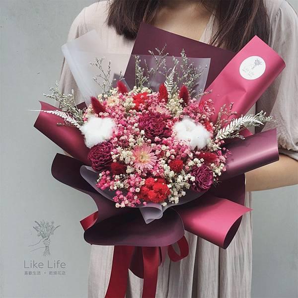 道歉花束深紅色,道歉花束推薦台北,喜歡生活乾燥花店