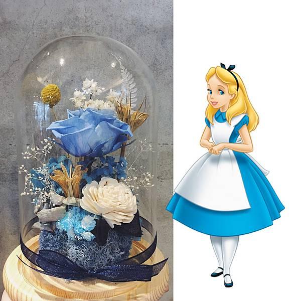 永生花藍色永生花設計,台北永生花店推薦,愛麗絲永生玫瑰花