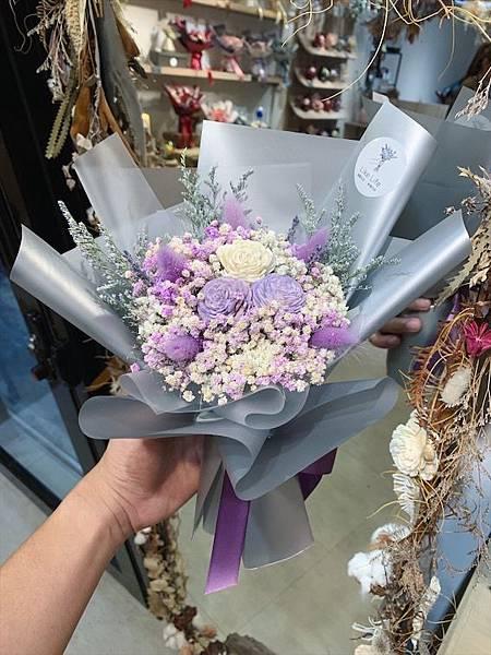 台北質感花店推薦,紫色乾燥花,質感乾燥花束.JPG