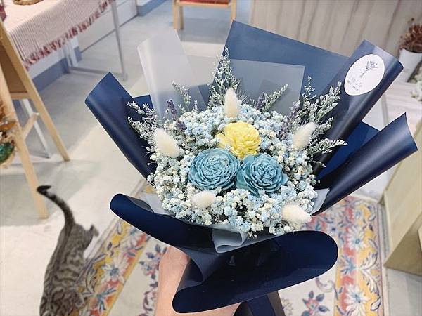 台北質感花店推薦,藍色乾燥花束.JPG