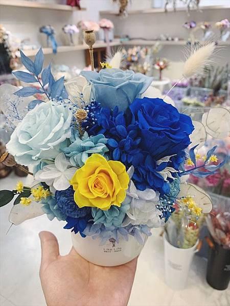 母親節乾燥花束推薦藍色永生玫瑰花盆栽推薦質感開幕盆栽.JPG