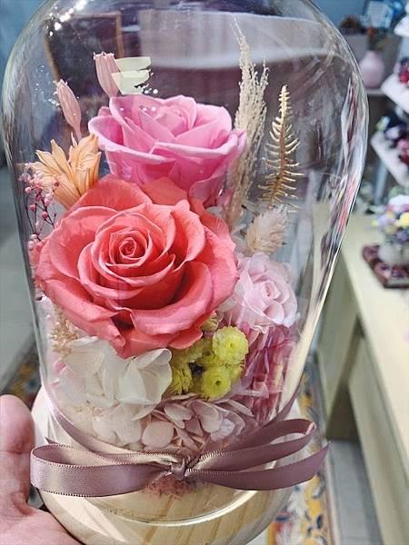 母親節花束推薦,永生花玻璃罩粉色.JPG