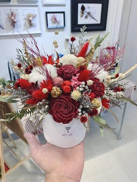 母親節花束推薦乾燥花開幕盆栽紅色開幕盆栽.JPG