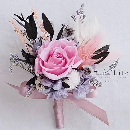 伴郎胸花乾燥花粉色設計,伴郎胸花.jpg