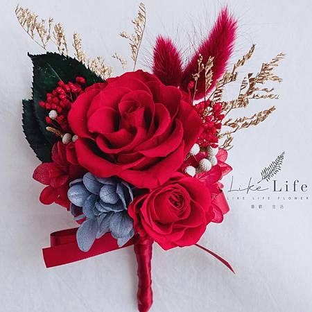 新郎胸花乾燥花喜氣紅色,主婚人胸花,新郎胸花.jpg