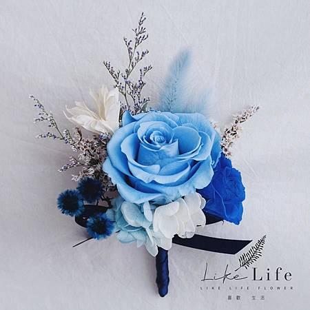 新郎乾燥花胸花藍色,主婚人胸花,新郎胸花.jpg