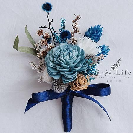 伴郎胸花乾燥花,藍色設計,伴郎乾燥花胸花.jpg