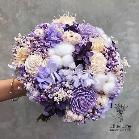 新娘捧花紫色系,喜歡生活乾燥花店.jpg