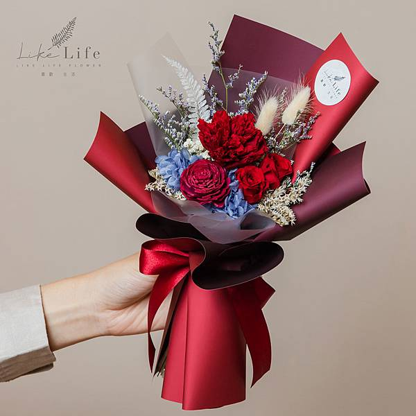 母親節康乃馨花束,康乃馨永生花束紅色代客送花.jpg