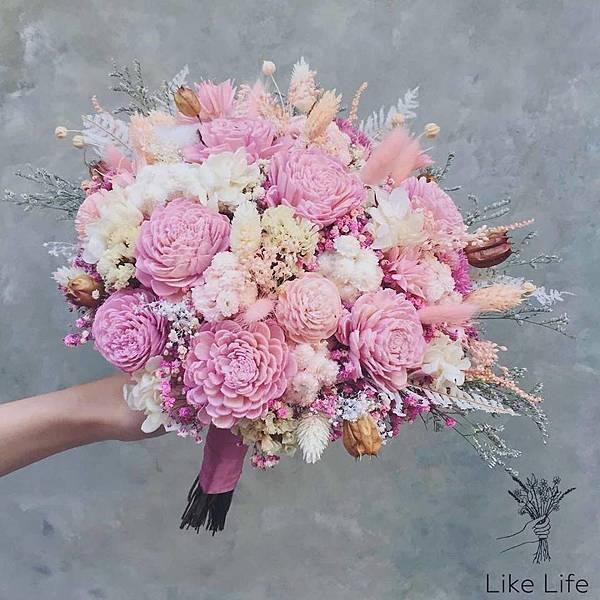 粉色新娘捧花,乾燥花,永生花代客送花,開幕盆栽台東台北代客送花推薦.jpg