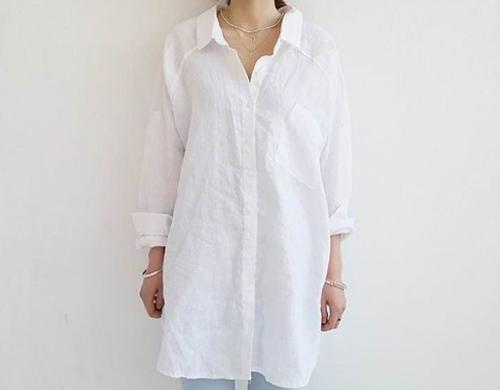 二手_寬鬆亞麻襯衫 (白色)_韓系