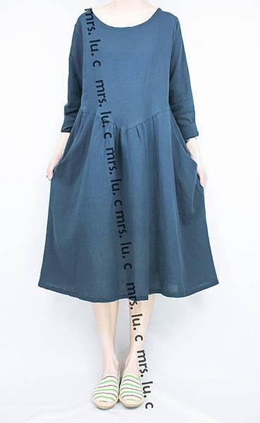 日系_棉混紡藍色側口袋洋裝_二手NO︰SH_012
