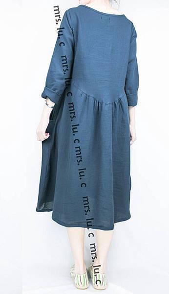 日系_棉混紡口袋洋裝(藍色)_二手NO︰SH_012