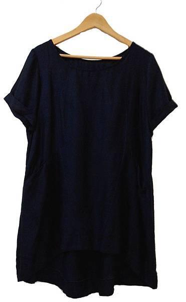 上裝(衣長過80公分)SH-002_亞麻人造絲棉(深藍色)