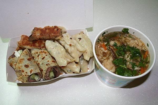 鍋貼+牛肉捲+肉羹湯