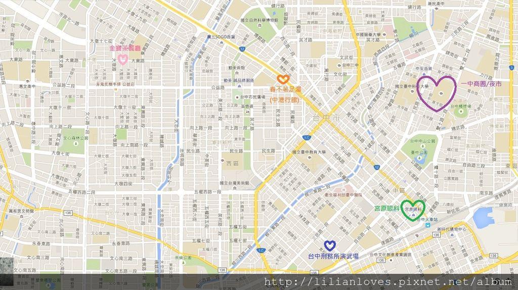 台中一日散策地圖
