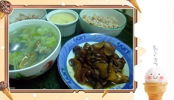 紅燒雞腿杏鮑菇vs蛤蜊絲瓜vs十穀米