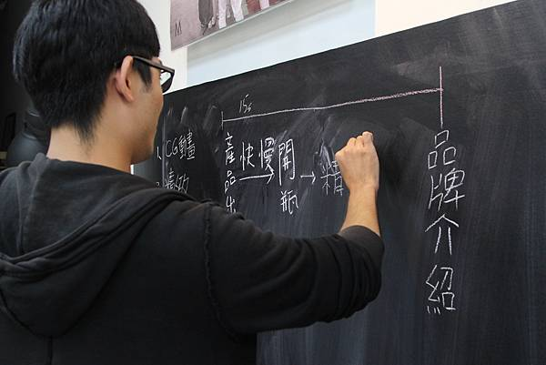 技術人員把自己想到的靈感寫到了黑板上.JPG