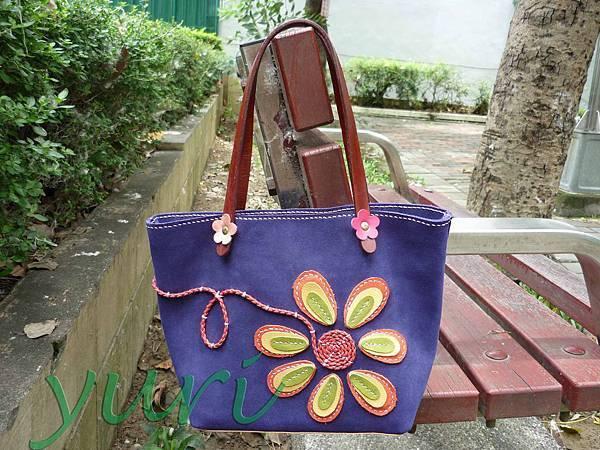 盛開的花麡皮包1