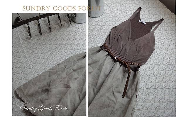 什貨森林 森林 自然風格 韓製 針織吊背心亞麻裙 咖啡色